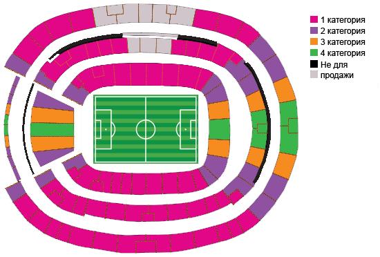 Схема стадиона Fonte Nova и категории билетов